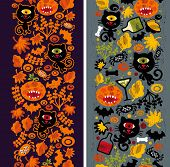 Two seamless vertical patterns with black cat, leaves and pumpkins.