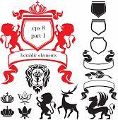 Set of heraldic silhouettes elements - lion, blazon, crown, deer, griffin, scroll, fleur de lis