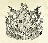 Wappen der Republik Frankreich. Illustration von Alwin Zschiesche, veröffentlicht auf