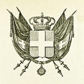 Wappen des Königreichs von Sardinien. Illustration von Alwin Zschiesche, veröffentlicht am