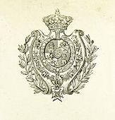 Wappen des Königreichs Spanien. Illustration von Alwin Zschiesche, veröffentlicht am
