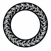 Antique Ring Circle  Black Ornaments, Baroque Ornaments, Scroll Ornaments, Border Carving Ornaments, poster