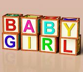 Kids Blocks Spelling Baby Girl As Symbol For Babies And Childhood