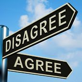 Disagree Or Agree Directions On A Signpost