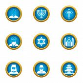 Choice Of Religion Icons Set. Flat Set Of 9 Choice Of Religion Icons For Web Isolated On White Backg poster