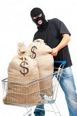 Lucky robber carries in two sacks full of dollars the shopping cart. Isolated over white.