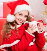 Perfect Way To Warm You Holiday Season. Girl Little Cute Child Hold Mug With Hot Drink While Celebra poster