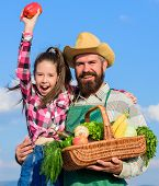Family Farm Concept. Man Bearded Rustic Farmer With Kid. Farmer Family Homegrown Harvest. Only Organ poster