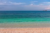 Moody Seascape. Beautiful Seascape With The Emerald Waters Of The Sea Of Elba Island. Tuscany, Italy poster