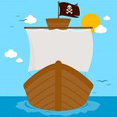 Pirate Ship With White Sails And Scull And Crossed Bones Flag Sailing At The Sea. Vector Illustratio poster
