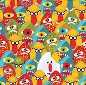 Crazy eggs monsters seamless pattern.