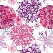 seamless pattern with pink asters and dahlia
