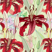 seamless pattern with red lilies