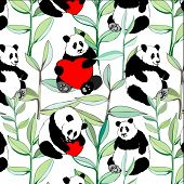 seamless pattern with lovely pandas with hearts in leaves