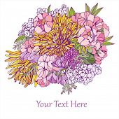 greeting card with bunch of flowers