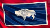Wyoming State Flag. Waving Flag Of Wyoming  State, United States Of America. poster