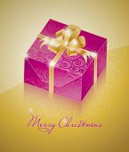 One purple gift box with gold ribbon
