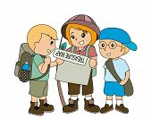 stock photo of treasure map  - Children with Treasure Map with Clipping Path - JPG