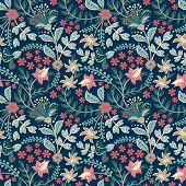 Retro Wild Flower Pattern In The Many Kind Of Florals. Botanical Motifs Scattered Random. Seamless V poster
