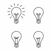 Set Of Light Bulbs Isolated, Creative Design Bulbs Vector Illustration Eps10, Light Bulbs Icon Vecto poster