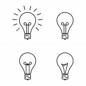 Set Of Light Bulbs Isolated, Creative Design Bulbs Vector Illustration Eps10, Light Bulbs Icon Vecto poster