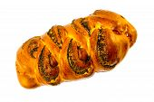 On A White Background Emit Braided Bread With Poppy Seeds.bakery Products With Poppy Seeds On White poster