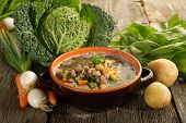stock photo of vegetable soup  - vegetables soup on bowl - JPG