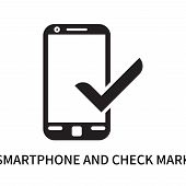 Smartphone And Check Mark Icon Isolated On White Background. Smartphone And Check Mark Icon Simple S poster