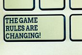 Handwriting Text Writing The Game Rules Are Changing. Concept Meaning Changes In Established Competi poster