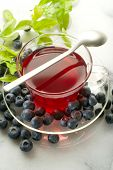 blueberry tea on marble background