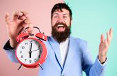 Just In Time. Man Bearded Happy Cheerful Businessman Hold Alarm Clock. Timely Concept. Hipster Happy poster