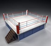 pic of boxing ring  - A 3d generated professional boxing ring with dramatic lighting - JPG