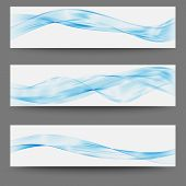 Three Minimalistic Divider Wave Swoosh Set Soft Smooth Line Border Swoosh From Green To Blue. poster