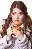 Woman Wearing Warm Clothing Grey Sweater Holding Nice Red Mug Of Warm Beverage Tea Or Coffee, On Whi poster