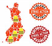 Strike Action Collage Of Revolting Map Of Finland, Grunge And Clean Seal Stamps. Map Of Finland Coll poster