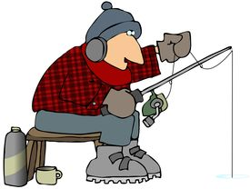 stock photo of ice fishing  - This illustration depicts a man ice fishing - JPG