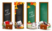 Back to school. Four banners with school supplies and autumn leaves. Vector.