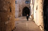 JERUSALEM - OCTOBER 02: The narrow street in the Old City of Jerusalem. October 02, 2006 in Jerusale