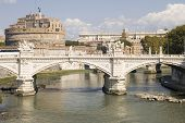 Bridge And Castle Sant Angelo In Rome