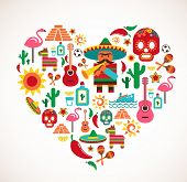 Mexico love - heart with set of vector illustrations