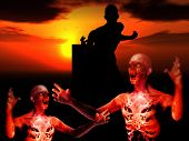 stock photo of festering  - Some zombies with a sunset background would be good for Halloween - JPG