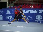 KUALA LUMPUR - SEP 28: Kei Nishikori (Japan) plays his quarter-final match at the ATP Tour Malaysian
