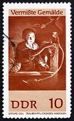 Postage stamp GDR 1967 Girl Gathering Grapes, by Gerard Dou