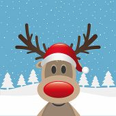 picture of rudolph  - rudolph reindeer red nose santa claus hat - JPG