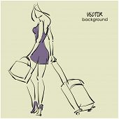art sketching beautiful young  travel woman leaving and from the back on background with space for text