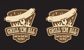 stock photo of wieners  - Barbecue vector emblem with the slogan  - JPG