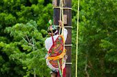 Traditional Mayan Flyer Man Climbing A Wooden Pole