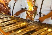 Mexican Musicians Playing A Wooden Marimba