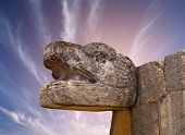 Snake Mayan Sculpture In The City Of Chichen Itza, Yucatan, Mexico