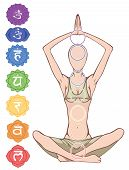 stock photo of tantra  - Woman silhouette in yoga position with the symbols of seven chakras - JPG